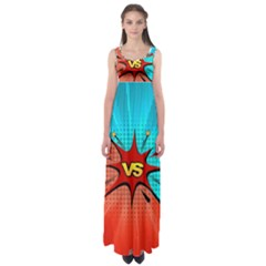 Comic Book Vs With Colorful Comic Speech Bubbles  Empire Waist Maxi Dress by LimeGreenFlamingo
