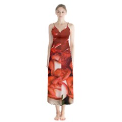Nice Rose With Water Button Up Chiffon Maxi Dress