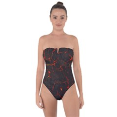 Volcanic Textures Tie Back One Piece Swimsuit