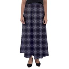 Dark Black Mesh Patterns Flared Maxi Skirt