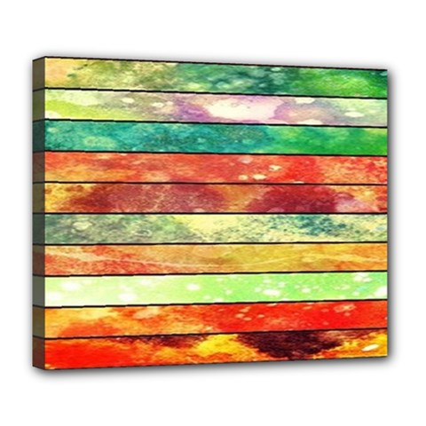 Stripes Color Oil Deluxe Canvas 24  X 20   by BangZart