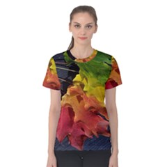 Green Yellow Red Maple Leaf Women s Cotton Tee