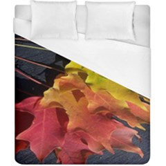 Green Yellow Red Maple Leaf Duvet Cover (california King Size) by BangZart