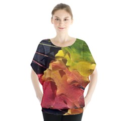 Green Yellow Red Maple Leaf Blouse by BangZart