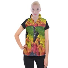 Green Yellow Red Maple Leaf Women s Button Up Puffer Vest
