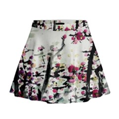 Pink Flower Ink Painting Art Mini Flare Skirt by BangZart