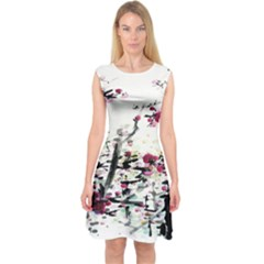Pink Flower Ink Painting Art Capsleeve Midi Dress