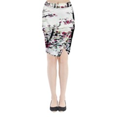 Pink Flower Ink Painting Art Midi Wrap Pencil Skirt by BangZart