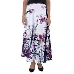Pink Flower Ink Painting Art Flared Maxi Skirt by BangZart