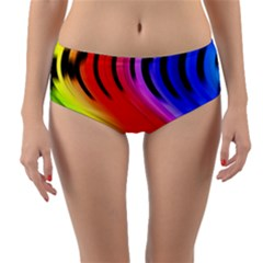 Colorful Vertical Lines Reversible Mid Waist Bikini Bottoms by BangZart