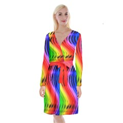 Colorful Vertical Lines Long Sleeve Velvet Front Wrap Dress by BangZart