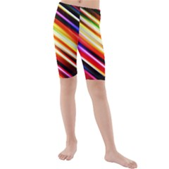 Funky Color Lines Kids  Mid Length Swim Shorts