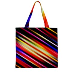Funky Color Lines Zipper Grocery Tote Bag by BangZart