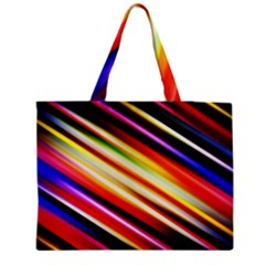 Funky Color Lines Medium Zipper Tote Bag by BangZart