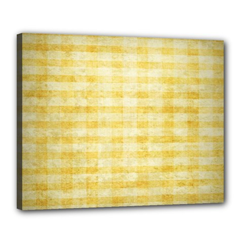 Spring Yellow Gingham Canvas 20  X 16  by BangZart