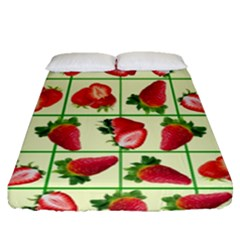 Strawberries Pattern Fitted Sheet (queen Size) by SuperPatterns