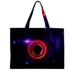 The Little Astronaut On A Tiny Fractal Planet Medium Zipper Tote Bag by jayaprime
