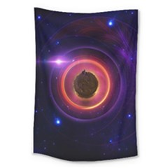 The Little Astronaut On A Tiny Fractal Planet Large Tapestry by jayaprime