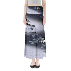 Abstract Black And Gray Tree Full Length Maxi Skirt