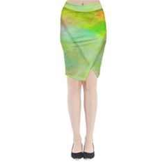 Abstract Yellow Green Oil Midi Wrap Pencil Skirt by BangZart