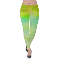 Abstract Yellow Green Oil Velvet Leggings