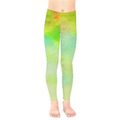 Abstract Yellow Green Oil Kids  Legging