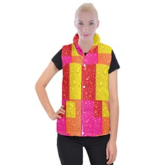 Color Abstract Drops Women s Button Up Puffer Vest