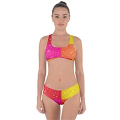 Color Abstract Drops Criss Cross Bikini Set