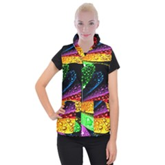 Abstract Flower Women s Button Up Puffer Vest