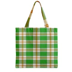 Abstract Green Plaid Zipper Grocery Tote Bag by BangZart