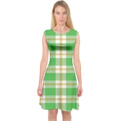 Abstract Green Plaid Capsleeve Midi Dress by BangZart
