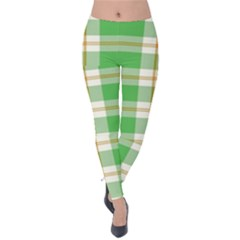 Abstract Green Plaid Velvet Leggings