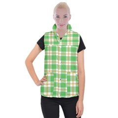 Abstract Green Plaid Women s Button Up Puffer Vest