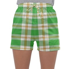 Abstract Green Plaid Sleepwear Shorts