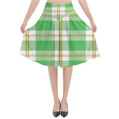 Abstract Green Plaid Flared Midi Skirt