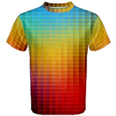 Blurred Color Pixels Men s Cotton Tee by BangZart