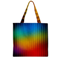Blurred Color Pixels Zipper Grocery Tote Bag by BangZart