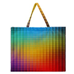 Blurred Color Pixels Zipper Large Tote Bag by BangZart