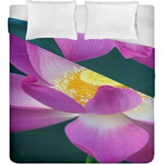 Pink Lotus Flower Duvet Cover Double Side (king Size) by BangZart