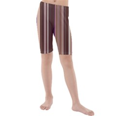 Brown Vertical Stripes Kids  Mid Length Swim Shorts