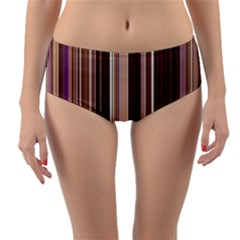 Brown Vertical Stripes Reversible Mid Waist Bikini Bottoms