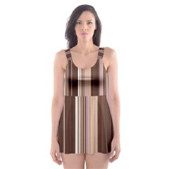 Brown Vertical Stripes Skater Dress Swimsuit by BangZart