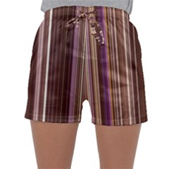 Brown Vertical Stripes Sleepwear Shorts