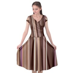Brown Vertical Stripes Cap Sleeve Wrap Front Dress