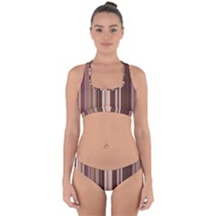 Brown Vertical Stripes Cross Back Hipster Bikini Set by BangZart
