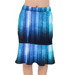 Blue Abstract Vectical Lines Mermaid Skirt by BangZart