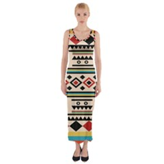 Tribal Pattern Fitted Maxi Dress by BangZart