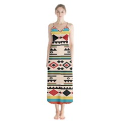 Tribal Pattern Button Up Chiffon Maxi Dress by BangZart
