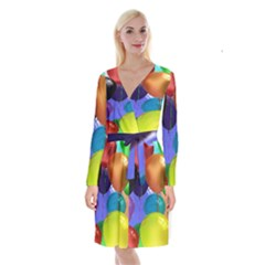 Colorful Balloons Render Long Sleeve Velvet Front Wrap Dress by BangZart