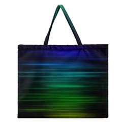 Blue And Green Lines Zipper Large Tote Bag by BangZart